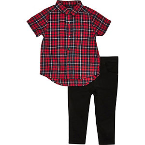 Mini boys red checked shirt jeans outfit