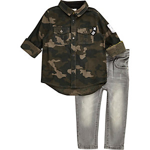 Mini boys khaki camo shirt jeans set