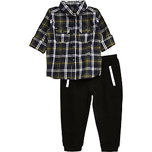 Mini boys khaki check shirt joggers set