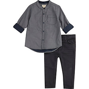 Mini boys navy geo print shirt jeans set