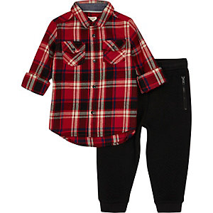 Mini boys red check shirt and joggers