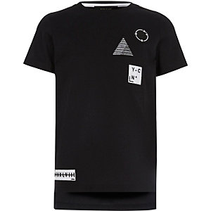 Boys black badge T-shirt
