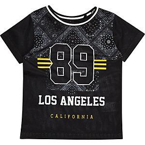 Mini boys black mesh bandana print T-shirt