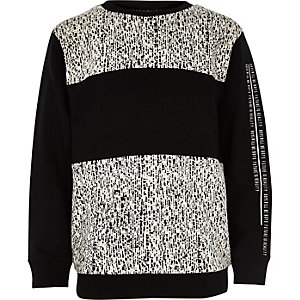 Boys black block jacquard sweatshirt