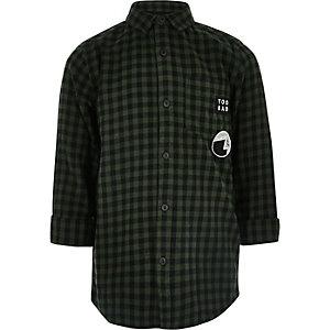 Chemise longue à carreaux vert foncé pour garçon