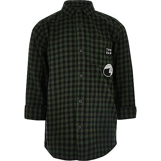 Boys dark green check longline shirt