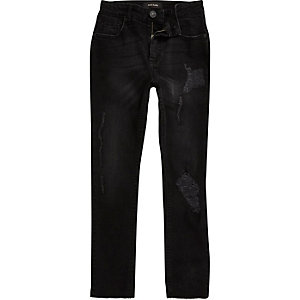 Boys black Sid rip and repair skinny jeans