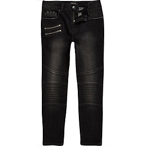 Boys black faded slim fit biker jeans
