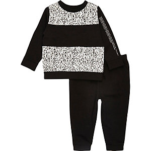Mini boys black panel sweatshirt joggers set