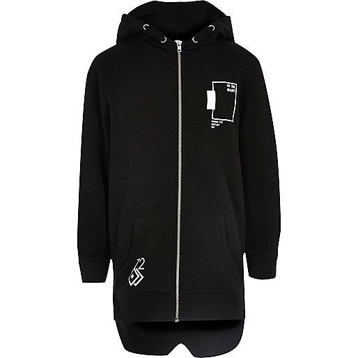 Boys black print longline hoodie