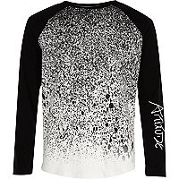 Boys black paint splatter raglan T-shirt