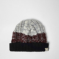 Boys dark red chunky knit bobble hat