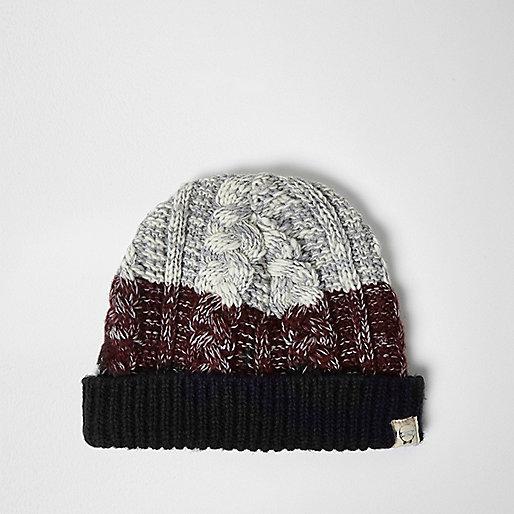 Boys dark red chunky knit bobble hat