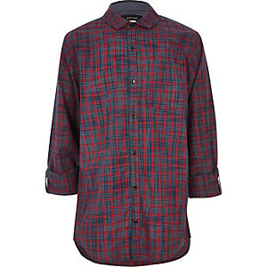Boys dark red check panel shirt