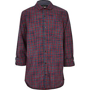 Chemise avec empiècement à carreaux rouge foncé pour garçon