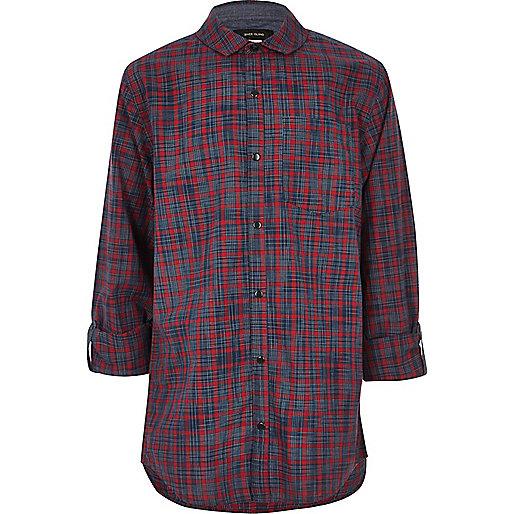 Boys burgundy check panel shirt