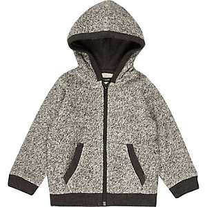 Mini boys grey cosy zip up hoodie
