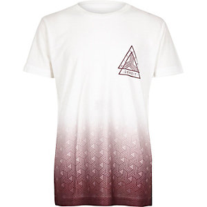 Boys white and berry faded print t-shirt