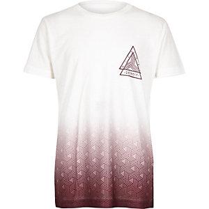 T-shirt imprimé dégradé rouge baie et blanc pour garçon
