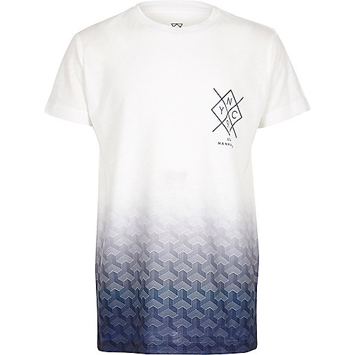 Boys white and blue faded print t-shirt
