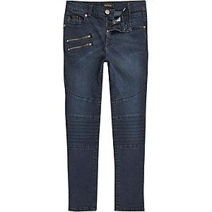 Blaue, ausgebleichte, schmale Biker-Jeans