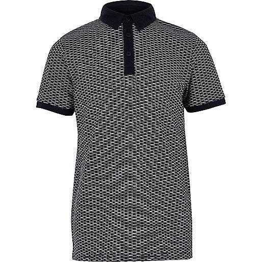 Boys navy jacquard polo shirt