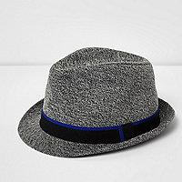 Boys dark grey felt feather trilby hat