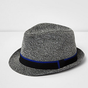 Boys dark grey felt feather trilby hat