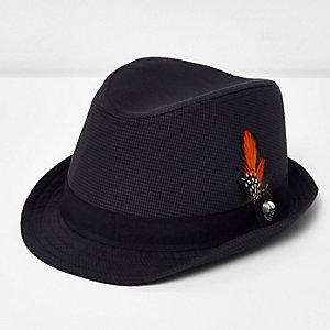 Boys grey block trilby hat
