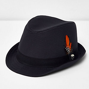 Boys grey block trilby hat