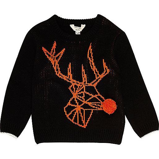 Mini boys black geo reindeer Christmas Jumper