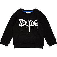 Mini boys black 'Dude' print sweatshirt