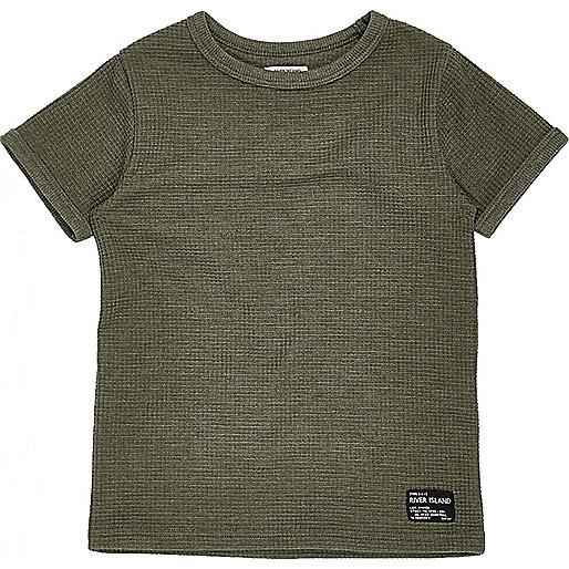 T-shirt vert gaufré mini garçon