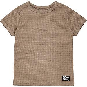 T-shirt grège gaufré mini garçon