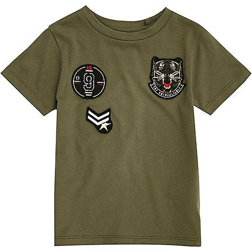 Mini boys khaki badge T-shirt