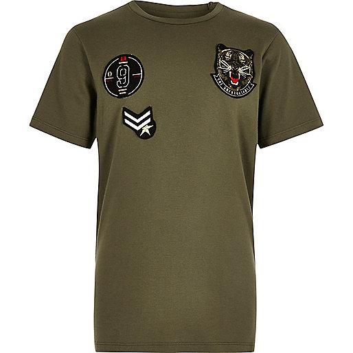 Boys khaki badge T-shirt