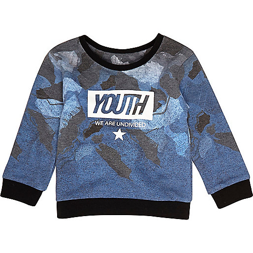 Mini boys blue 'Youth' print sweatshirt