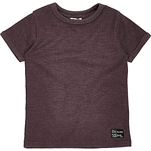 Mini boys purple waffle T-shirt