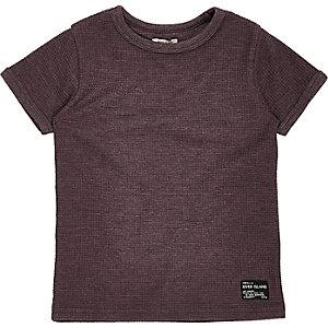 T-Shirt in Lila mit Waffelstruktur