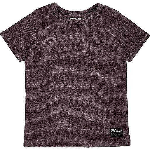 T-shirt violet gaufré mini garçon