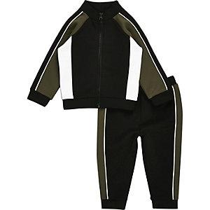 Mini boys khaki block zip track jacket set