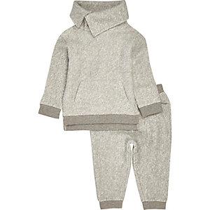 Pantalon de jogging et pull gris doux mini garçon