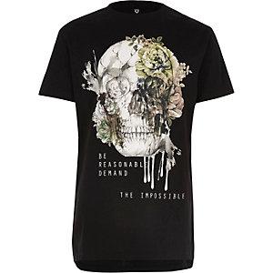 Boys black skull print longline T-shirt