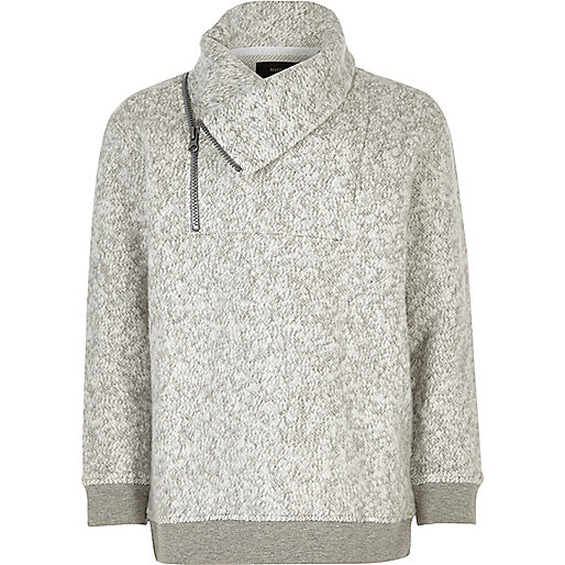 Boys grey soft zip funnel neck sweatshirt
