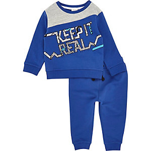 Mini boys blue print sweatshirt set