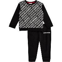 Mini boys black print sweatshirt and joggers