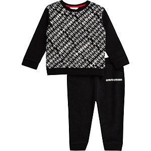 Sweat et pantalon de jogging noirs à imprimé pour mini garçon