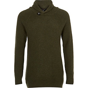 Boys khaki green knit shawl collar jumper