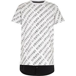 T-shirt blanc à ourlet chemise imprimé pour garçon