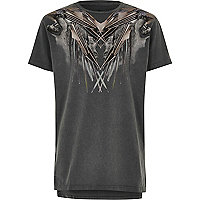 Boys grey wolf shoulder print T-shirt
